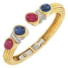 David Webb Ruby Sapphire Diamond Bangle Bracelet