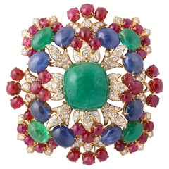 David Webb Ruby Sapphire Emerald Diamond Yellow Gold Brooch Brooch Pendant