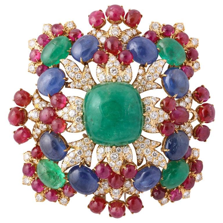 David Webb Ruby Sapphire Emerald Diamond Yellow Gold Brooch Brooch Pendant For Sale