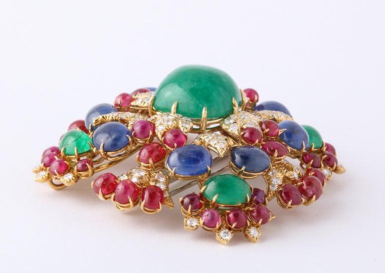 Retro David Webb Ruby Sapphire Emerald Diamond Yellow Gold Brooch Brooch Pendant For Sale