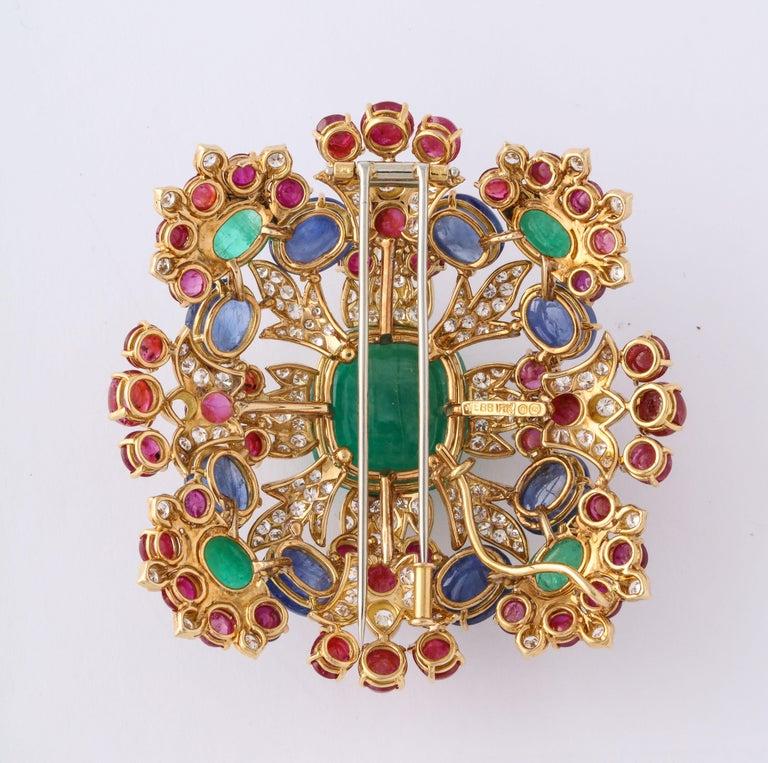 Emerald Cut David Webb Ruby Sapphire Emerald Diamond Yellow Gold Brooch Brooch Pendant For Sale