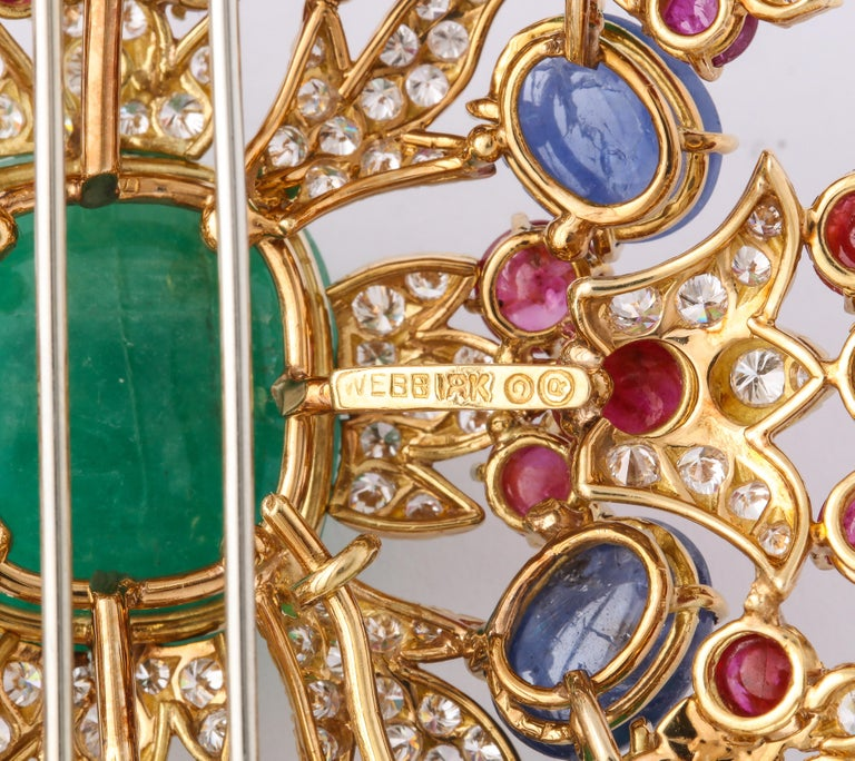 David Webb Ruby Sapphire Emerald Diamond Yellow Gold Brooch Brooch Pendant In Good Condition For Sale In New York, NY