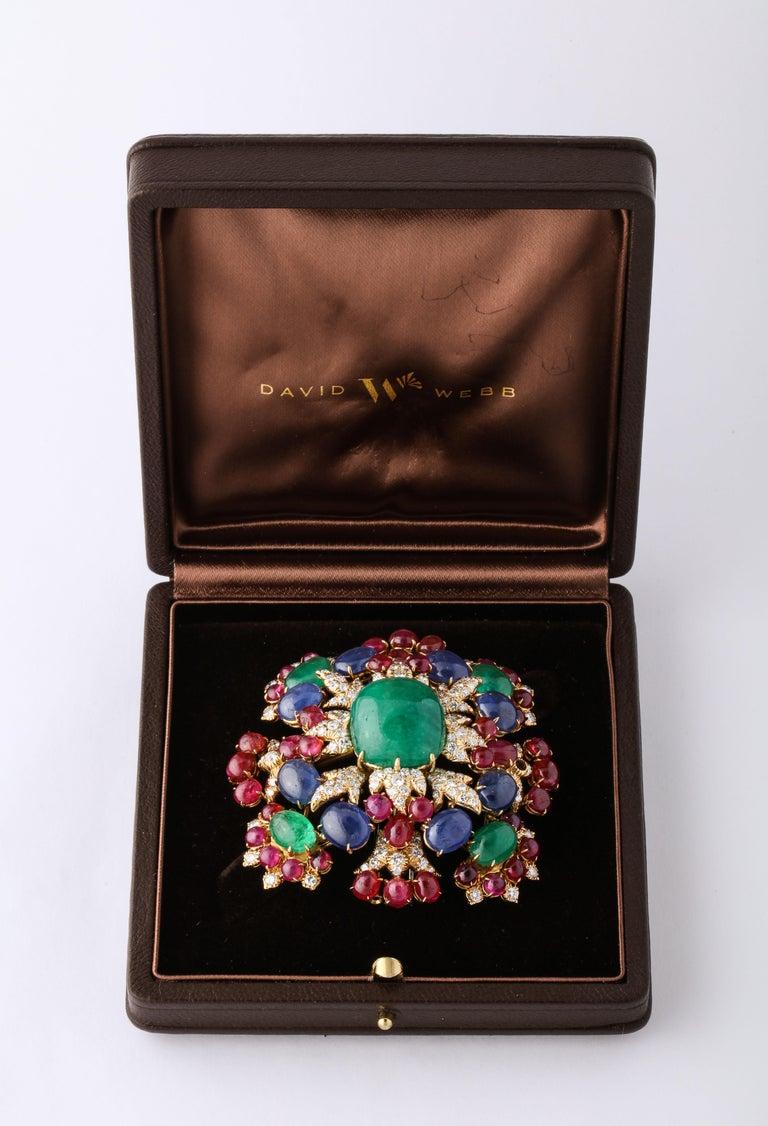 Women's David Webb Ruby Sapphire Emerald Diamond Yellow Gold Brooch Brooch Pendant For Sale