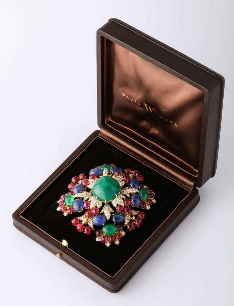 David Webb Ruby Sapphire Emerald Diamond Yellow Gold Brooch Brooch Pendant For Sale 1