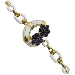 David Webb Sapphire and Enamel Link Bracelet with a Central C in 18 Karat Gold