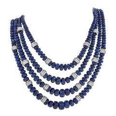 David Webb Sapphire Bead and Diamond Torsade Necklace