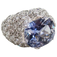 David Webb Sapphire Diamond 18 Karat White Gold Ring