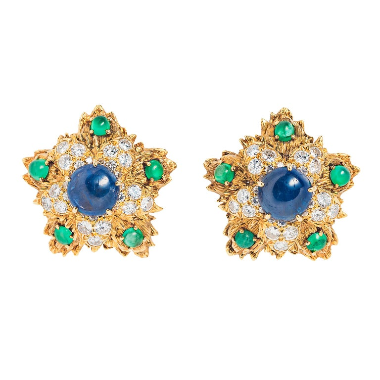 Cabochon David Webb Sapphire Emerald, Diamond and Gold Ear Clips For Sale