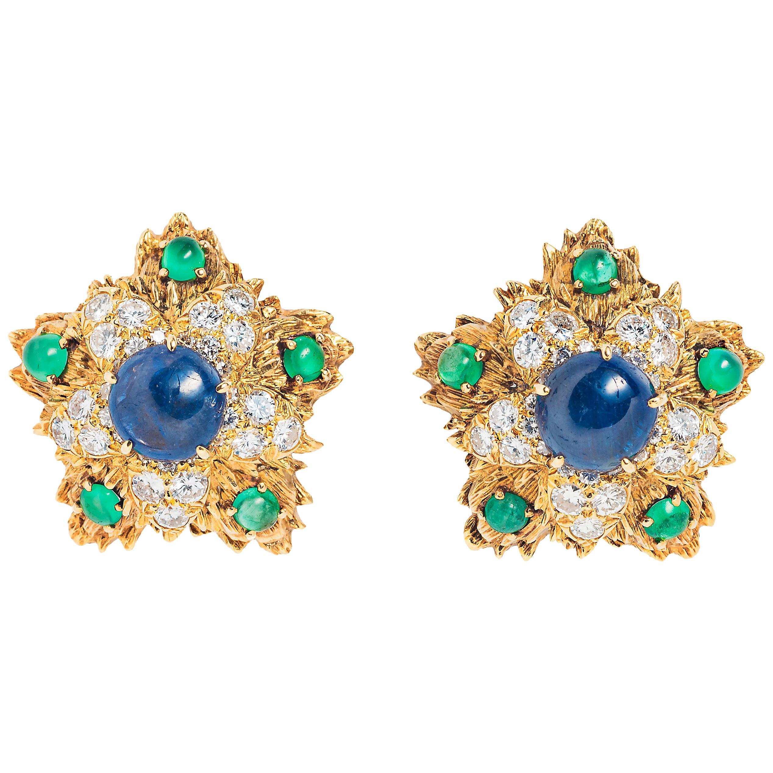 David Webb Sapphire Emerald, Diamond and Gold Ear Clips