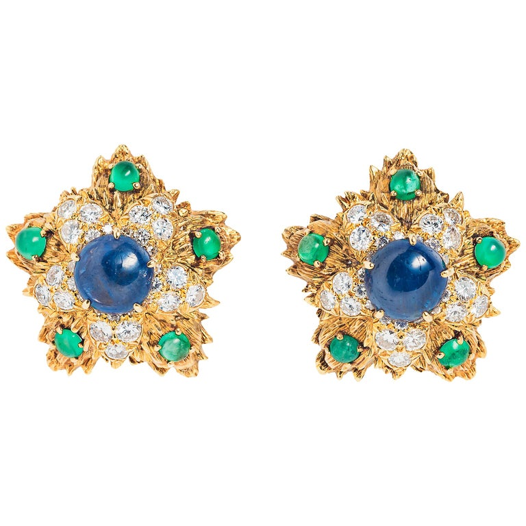 David Webb Sapphire Emerald, Diamond and Gold Ear Clips For Sale