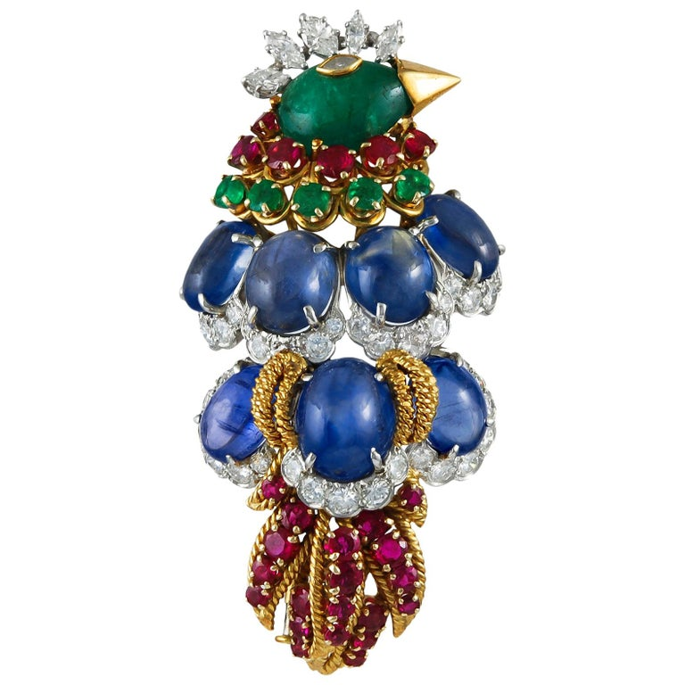 David Webb Diamond Sapphire Ruby Emerald Yellow Gold Bird Brooch For Sale