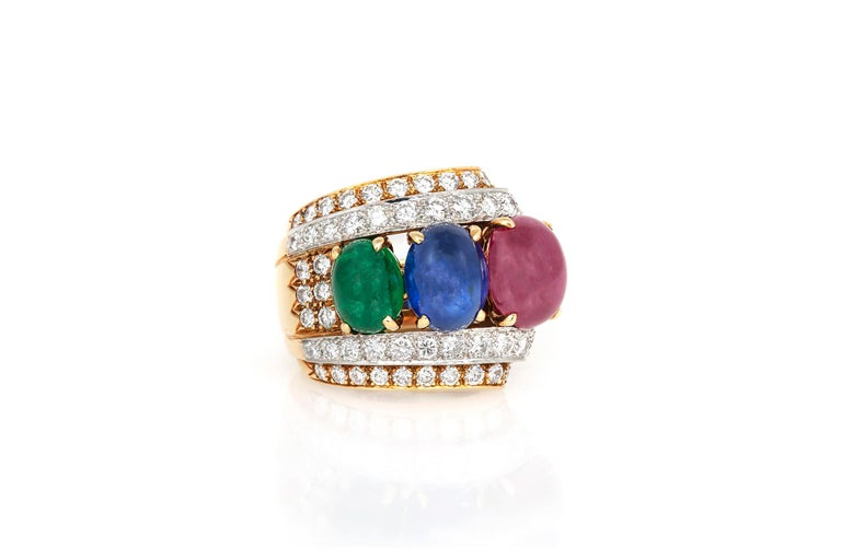 David Webb Sapphire Ruby Emerald Diamond Ring In Good Condition For Sale In New York, NY