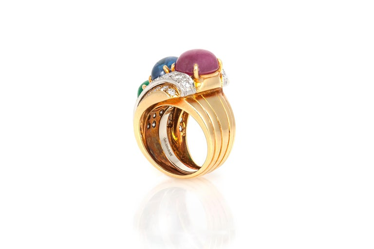 Women's David Webb Sapphire Ruby Emerald Diamond Ring For Sale