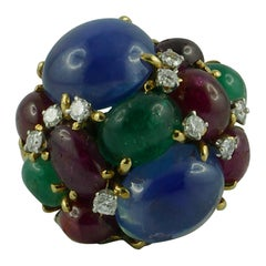 David Webb Sapphires, Ruby, Emeralds and Diamonds Fruit Salad Ring