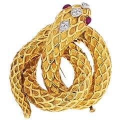 David Webb Serpent Platinum and 18 Karat Yellow Gold Diamond, Rubies Brooch