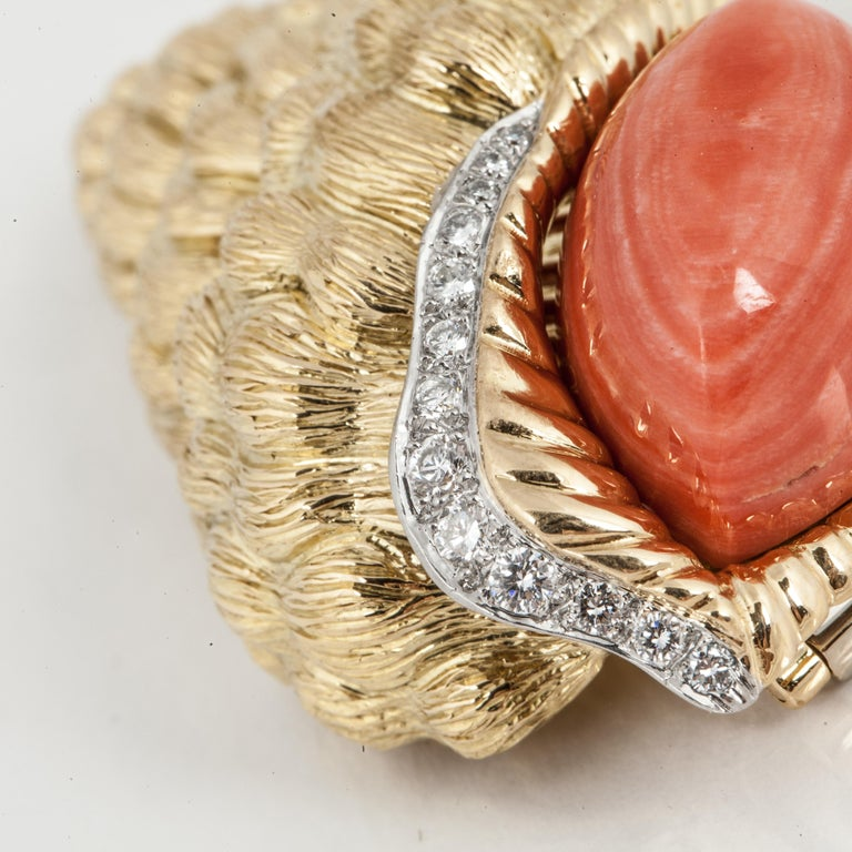 Round Cut David Webb Shell Brooch with Coral and Diamonds For Sale
