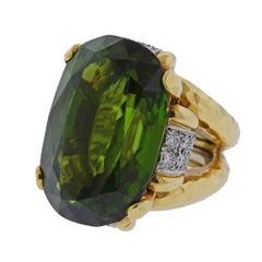 David Webb Shelter Island Peridot Diamond Gold Platinum Ring