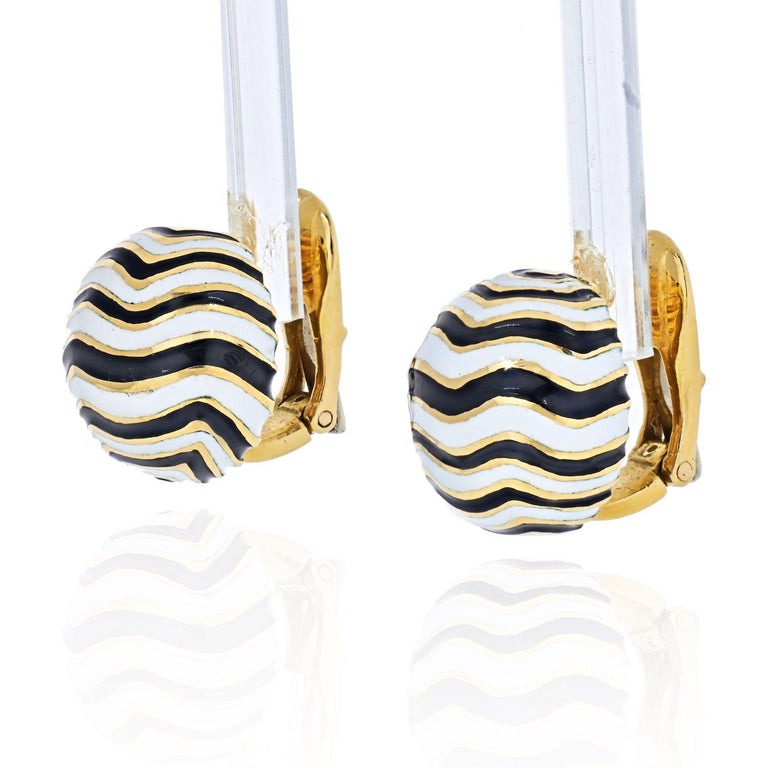 These are your classic David Webb Zebra pattern enamel clip-on earrings that are excellent to start your Webb collection with.   Width: 14.8mm Clip On closure.  Excellent condition.