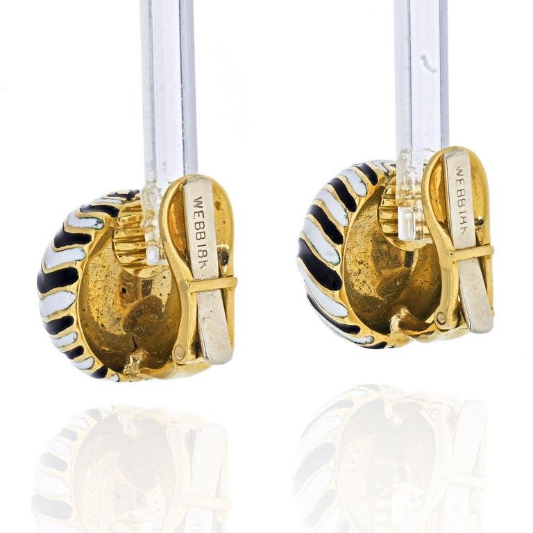 Modern David Webb Signature Zebra Enamel Round Earrings For Sale