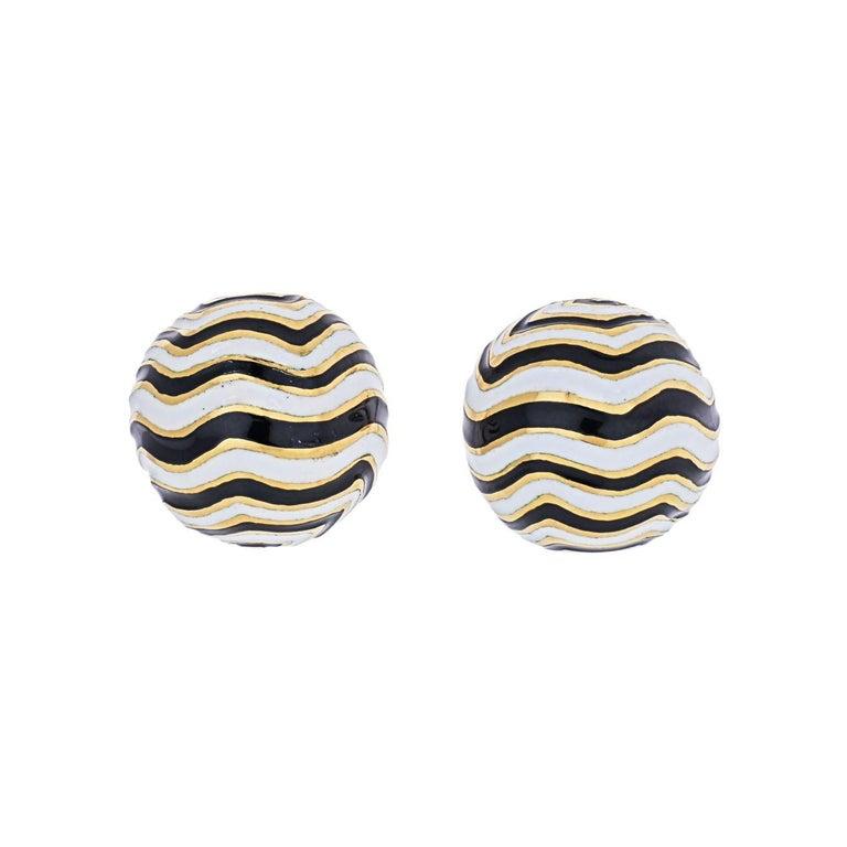 David Webb Signature Zebra Enamel Round Earrings For Sale