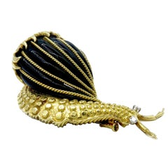 David Webb Snail Brooch Black Enamel Diamond Gold