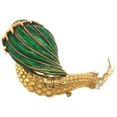 David Webb Snail Brooch Green Enamel Diamond 18 Karat Gold