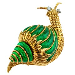 David Webb Snail Brooch Green Enamel Diamond Gold