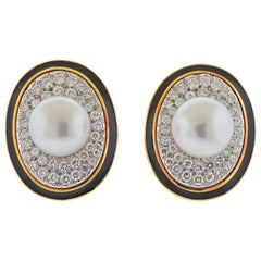 David Webb South Sea Pearl Diamond Enamel Gold Platinum Earrings