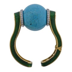 David Webb Sphere Turquoise Ball Diamond Enamel Gold Bracelet