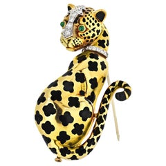 David Webb Spotted Leopard, Diamonds, Emeralds, Black Enamel Gold Brooch