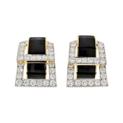 David Webb Strap Black Enamel and Diamond Earrings