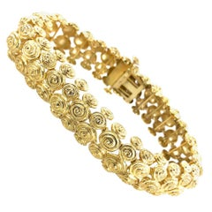 David Webb Swirl 18 Karat Yellow Gold Estate Bracelet