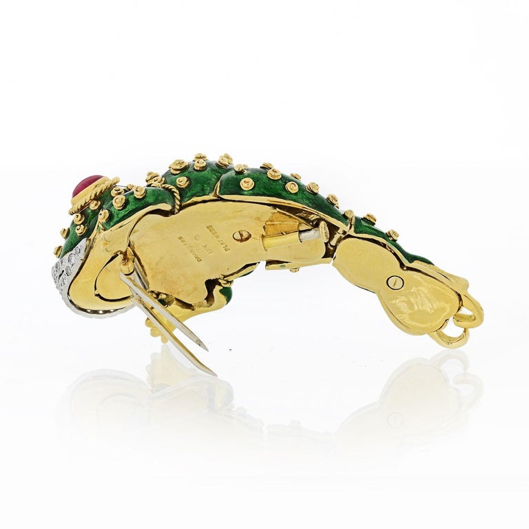 Modern David Webb Tadpole Green Enamel, Diamonds, Rubies Vintage Brooch For Sale