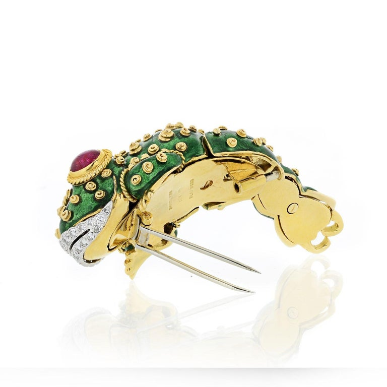 Oval Cut David Webb Tadpole Green Enamel, Diamonds, Rubies Vintage Brooch For Sale