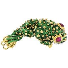 David Webb Tadpole Platinum and 18 Karat Yellow Gold Green Enamel Frog Brooch