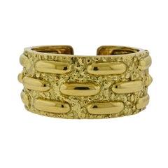 David Webb Textured Gold Cuff Bracelet