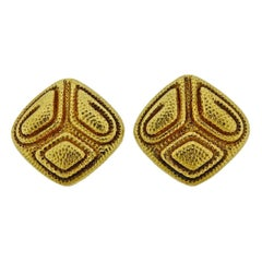 David Webb Textured Gold Earrings