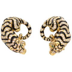 David Webb Tiger Ear Clips with Black Enamel and Diamonds