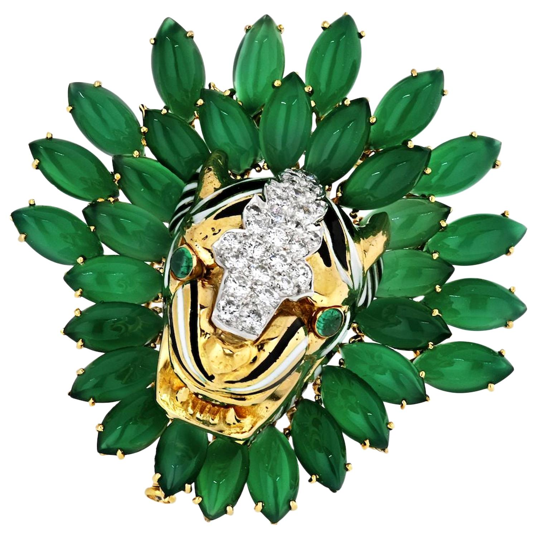 David Webb Tiger Platinum and 18k Yellow Gold Diamond and Chrysoprave Brooch