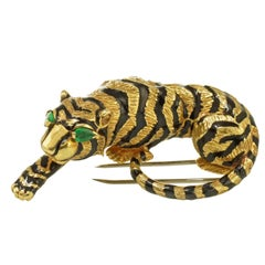 David Webb Tiger with Green Emerald Eyes Vintage Brooch