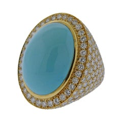 David Webb Turquoise 19 Carat Diamond Gold Ring