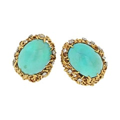 David Webb Turquoise and Diamond Oval Clip-On Gold Earrings