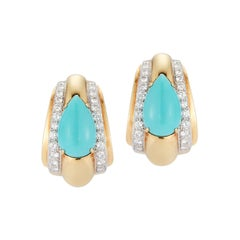 David Webb Turquoise & Diamond Gold Earrings