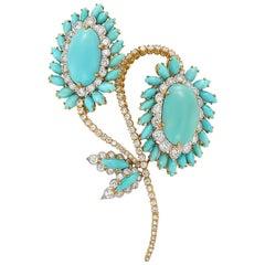 David Webb Turquoise Diamond Gold Flower Brooch