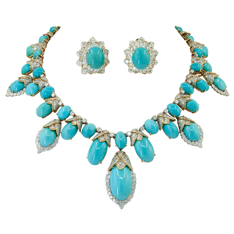 David Webb Turquoise, Diamond Necklace & Earrings