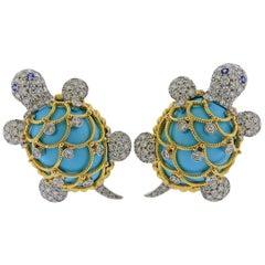 David Webb Turquoise Diamond Sapphire Gold Platinum Turtle Earrings