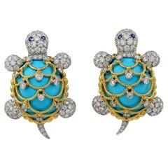 David Webb Turquoise, Diamond, Sapphire Turtle Earrings