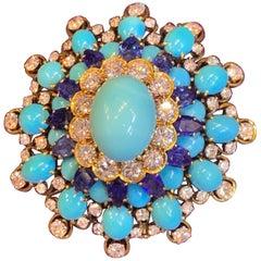 David Webb Turquoise Sapphire and Diamond Brooch