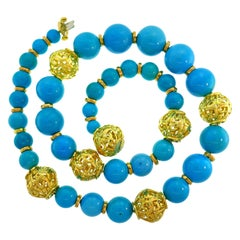 David Webb Turquoise Yellow Gold Bead Necklace, Massive, 1980s