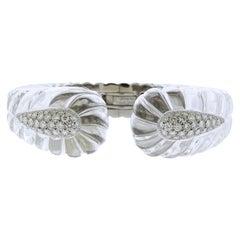 David Webb Twilight Carved Crystal Diamond Gold Platinum Bracelet